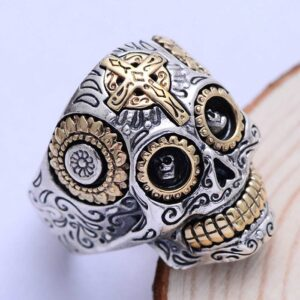 Mens Sterling Silver Cross Skull Ring