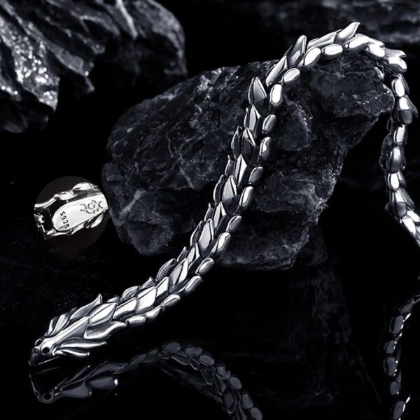 Men's Sterling Silver Dragon Chain Bracelet