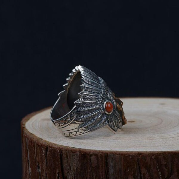 Mens Sterling Silver Indian Chief Ring