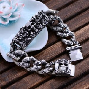 Mens Sterling Silver Skulls Bracelet