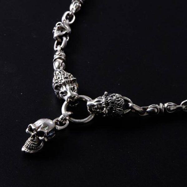 Silver Lions & Skull Necklace