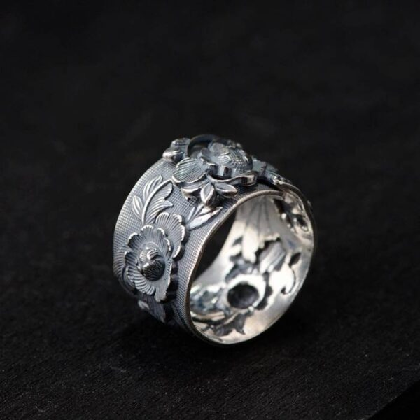 990 Silver Peony Flower Ring