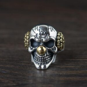 Mens Sterling Silver Skull Joker Ring