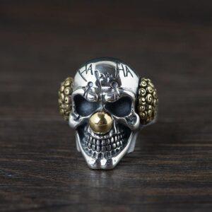 Mens Sterling Silver Skull Joker Ring