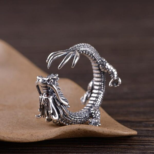 Sterling Silver Dragon Ring