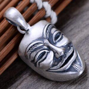 Men's Fine Silver V for Vendetta Mask Pendant