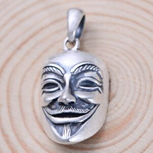 Men's Fine Silver V for Vendetta Mask Pendant