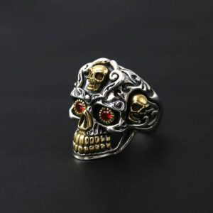 Men's Silver Red Eyes Skull Ring