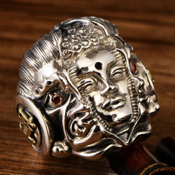 Men's Sterling Silver Buddha & Demon Ring
