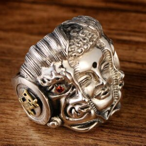 Men's Sterling Silver Buddha & Demon Ring