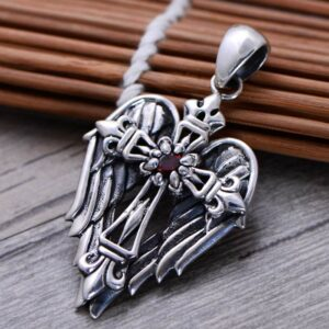 Men's Sterling Silver Cross Angel Wing Pendant
