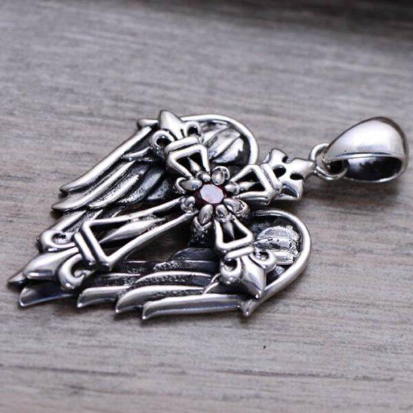 Men's Sterling Silver Cross Angel Wing Pendant