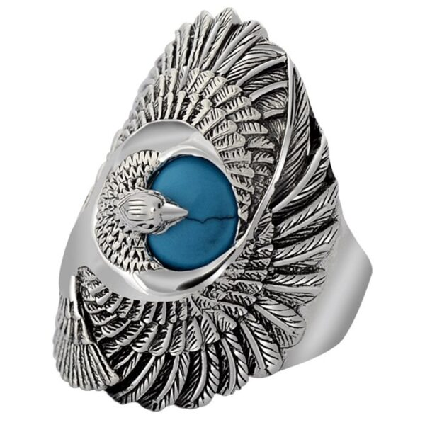 Men's Sterling Silver Eagle Turquoise Ring