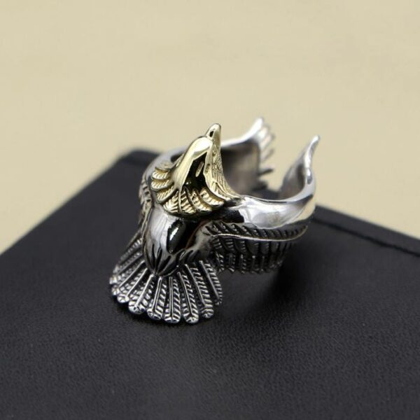Mens Sterling Silver Eagles Spreading Wing Ring