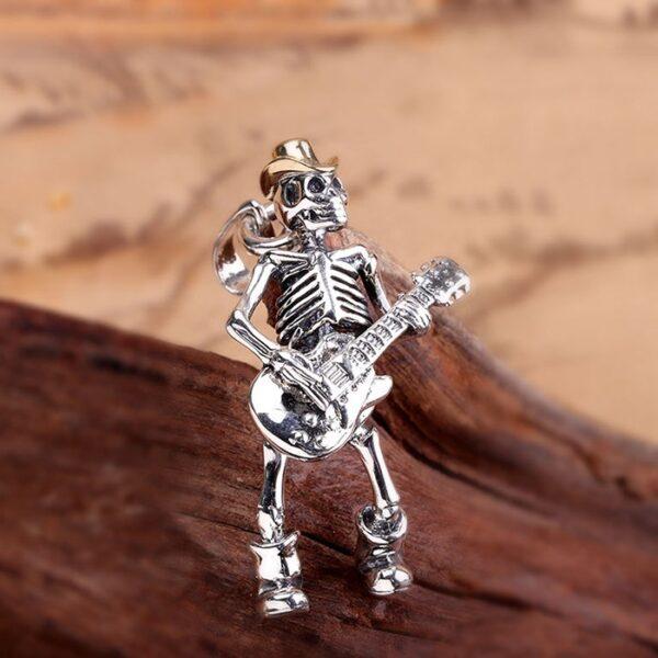 Men's Sterling Silver Guita Rock Skull Pendant Nacklace