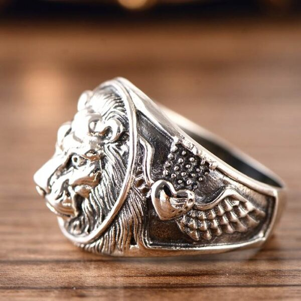 Mens Sterling Silver Lion Head Ring