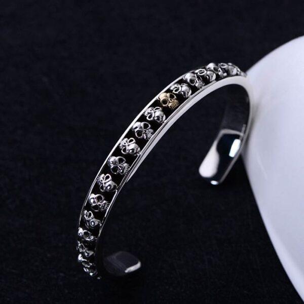 Mens Sterling Silver Skulls Cuff Bracelet