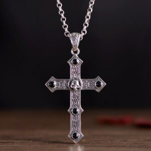 Silver Black Agate Skull Cross Pendant Necklace