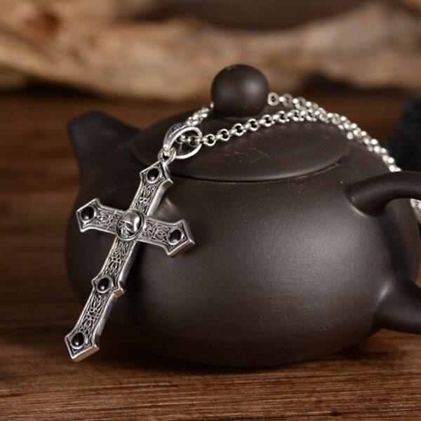 Silver Black Agate Skull Cross Pendant Necklace