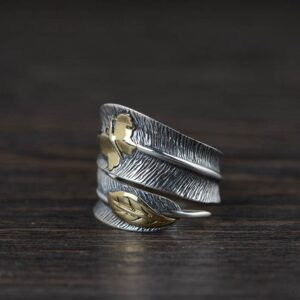 Silver Butterfly Feather Ring