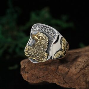 Silver Freedom Eagle Signet Ring