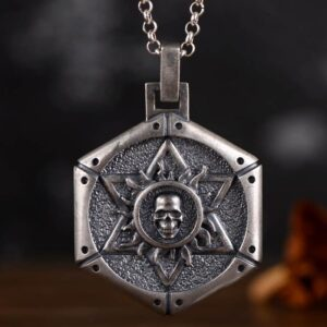 Silver Star of David Skull Pendant Necklace