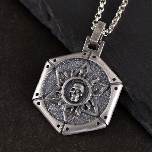 Silver Star of David Skull Pendant Necklace