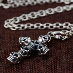 Sterling Silver Cross Skull Pendant Necklace