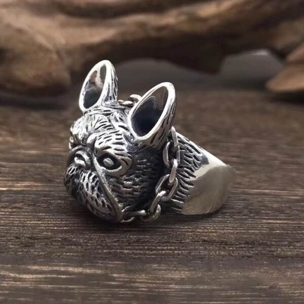 Sterling Silver Cute Bulldog Ring