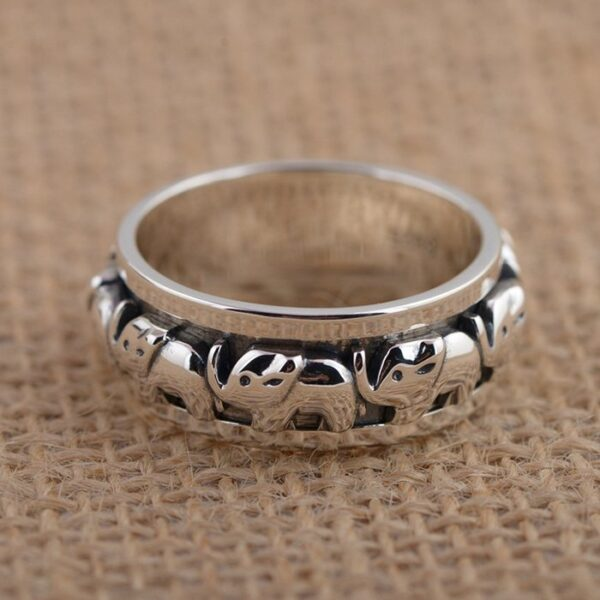Sterling Silver Elephant Pattern Ring