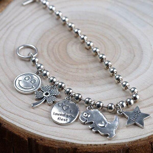 Sterling Silver Luck Beaded Chain Bracelet