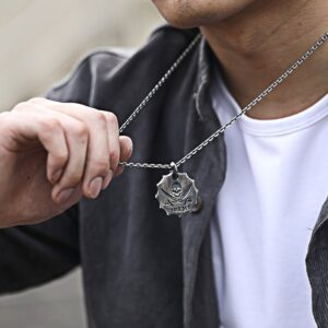 Sterling Silver Skull Crossed Swords Pendant Necklace
