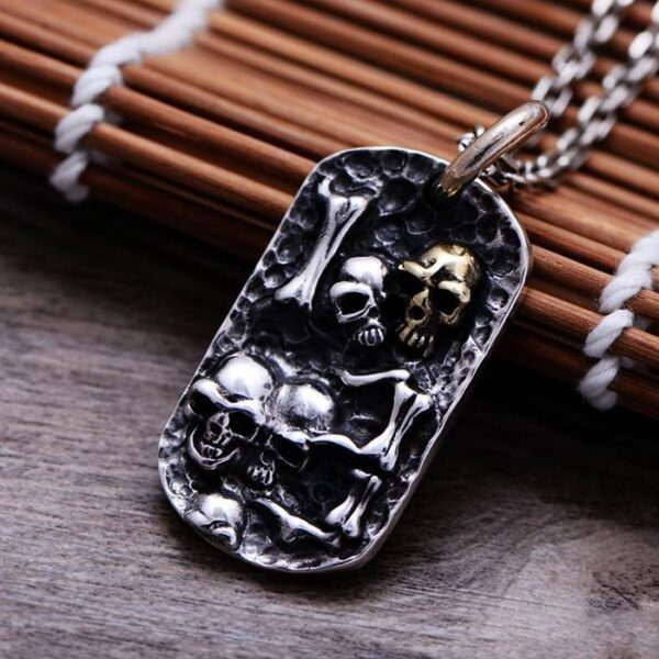 Sterling Silver Skull Dog Tag Pendant Necklace