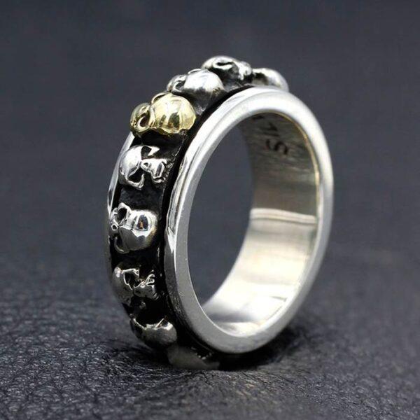 Sterling Silver Skull Spinner Ring For Men