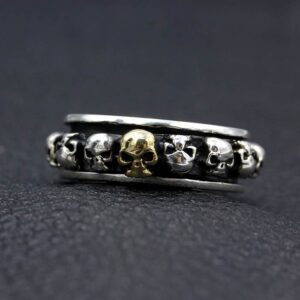 Sterling Silver Skull Spinner Ring For Men