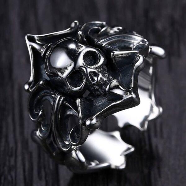 Sterling Silver Vintage Gothic Skull Ring
