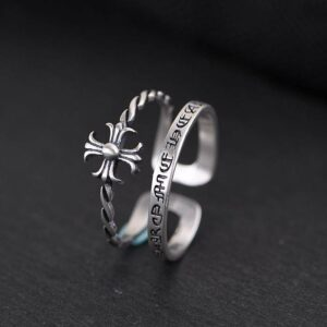 Women's Sterling Silver Cross Cuff Ring
