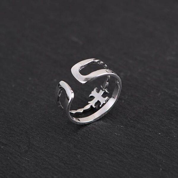 Women's Sterling Silver Cross Cuff Ring