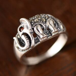Women's Sterling Silver Marcasite Elephant Ring