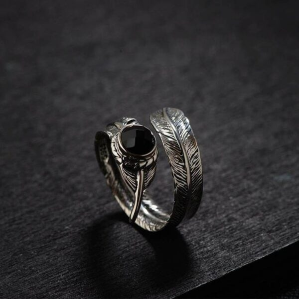 Adjustable Feather Onyx Ring