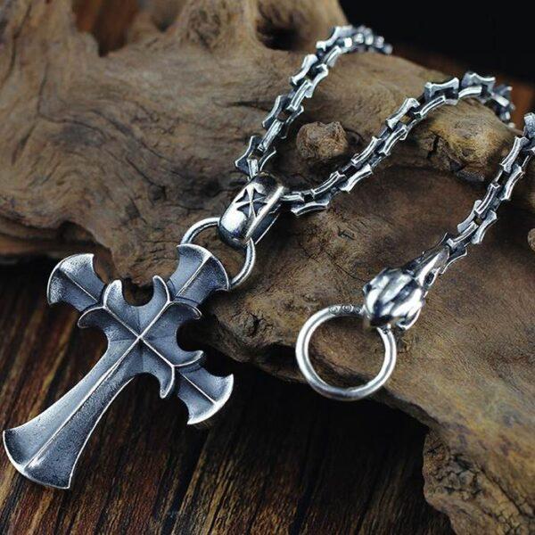 Black Sterling Silver Cross Pendant Necklace