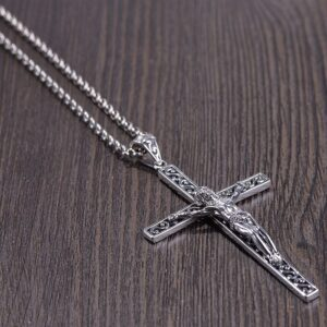 Engraved Openwork Crucifix Cross Pendant Necklace