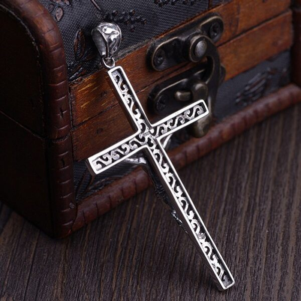 Engraved Openwork Crucifix Cross Pendant Necklace