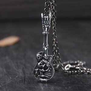 Guitar Skull Pendant Necklace