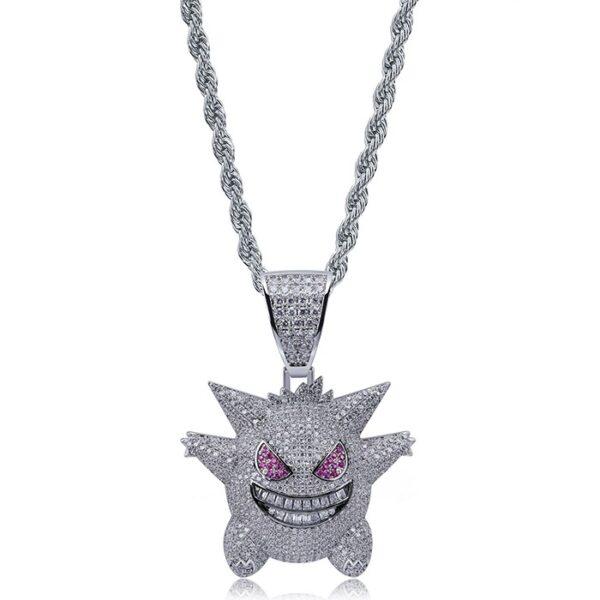 Copper Hip Hop CZ Funny Gremlin Necklace