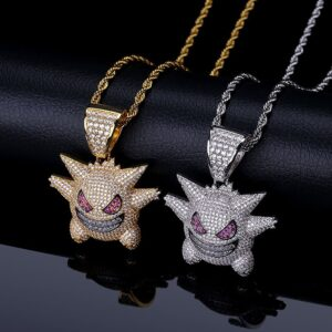 Copper Hip Hop CZ Funny Gremlin Necklace