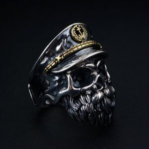 Sterling Silver Captain Skull Ring