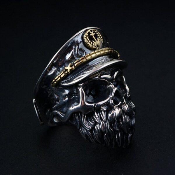 Sterling Silver Captain Skull Ring