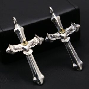 Men's Sterling Silver Cross Eagle Pendant