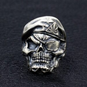 Sterling Silver Cyclopia Berets Skull Ring